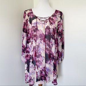 LANE BRYANT Floral Long Sleeve Blouse Size 22/24
